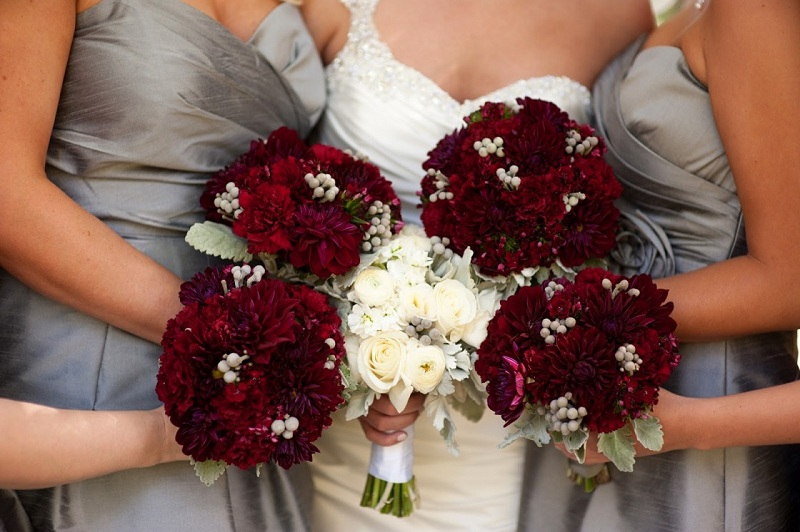 What Are The Bouquets Of The Bride Are In Burgundy Color?